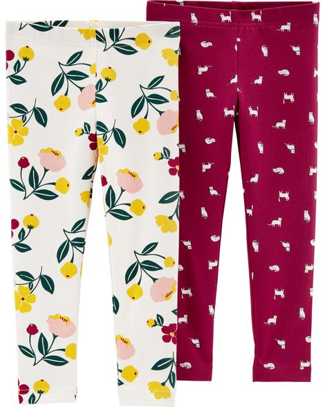 e50502ce7a6fb 2-Pack Cat Floral Leggings | Carters.com