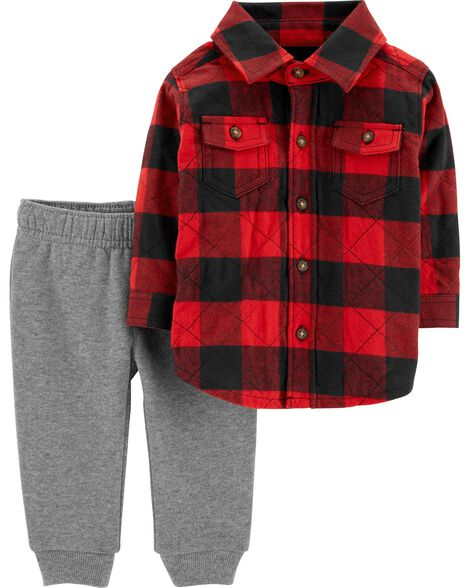 5ef492923 2-Piece Buffalo Check Button-Front   Fleece-Lined Jogger Set ...