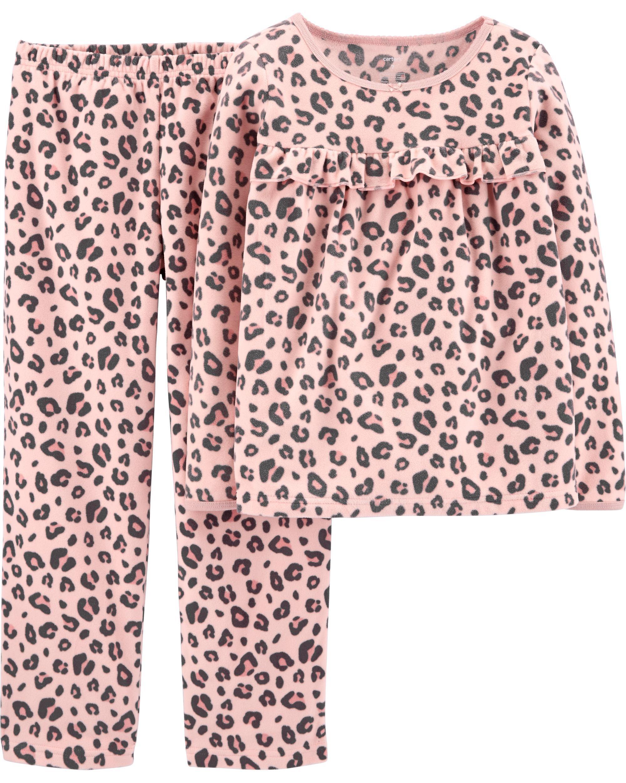 *DOORBUSTER* 2-Piece Leopard Print Fleece PJs