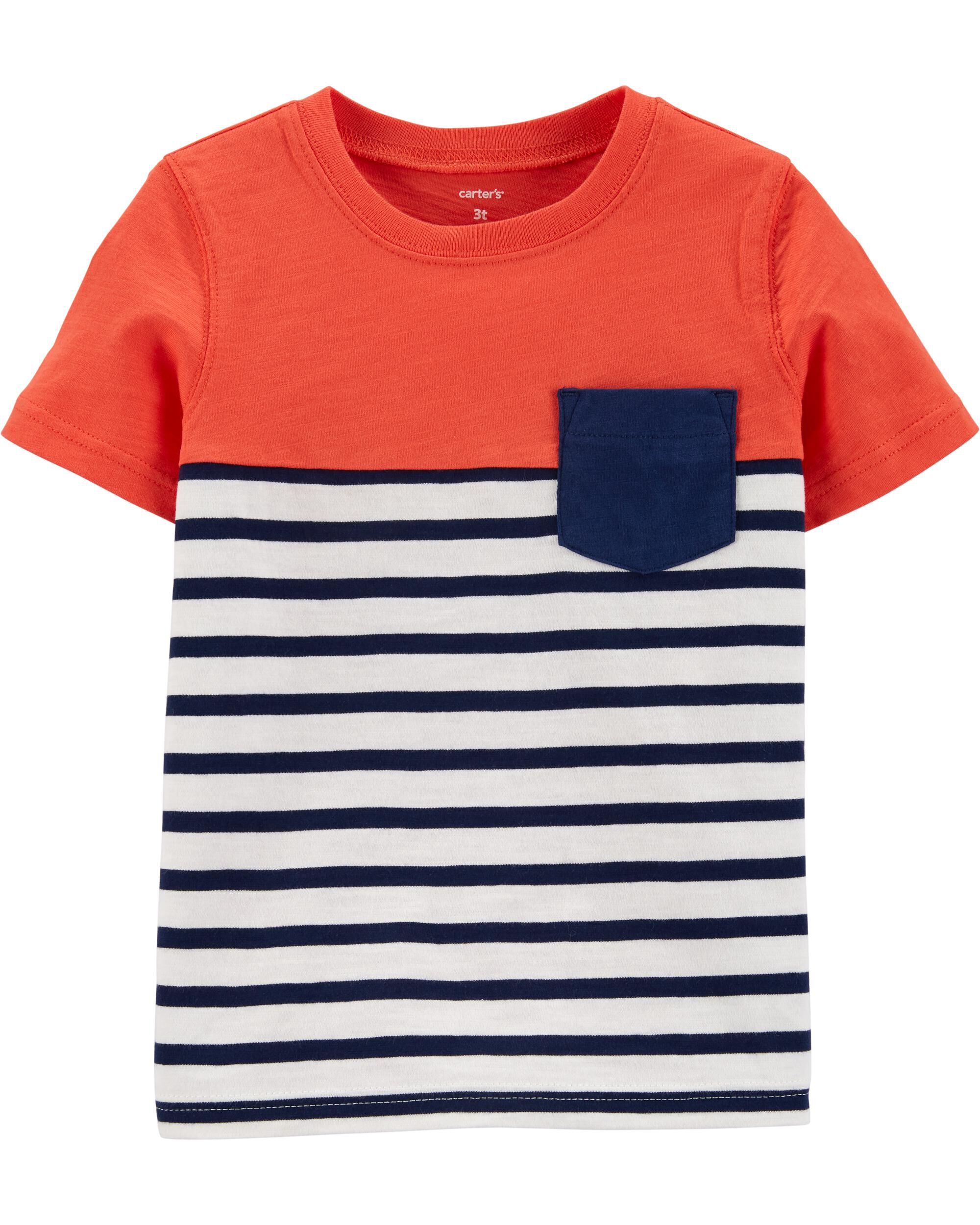 Striped Pocket Slub Jersey Tee