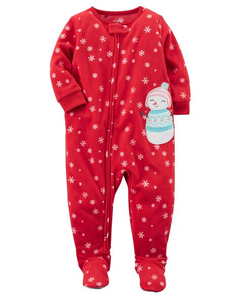 Images. 1-Piece Snowman Fleece PJs a308efa7b