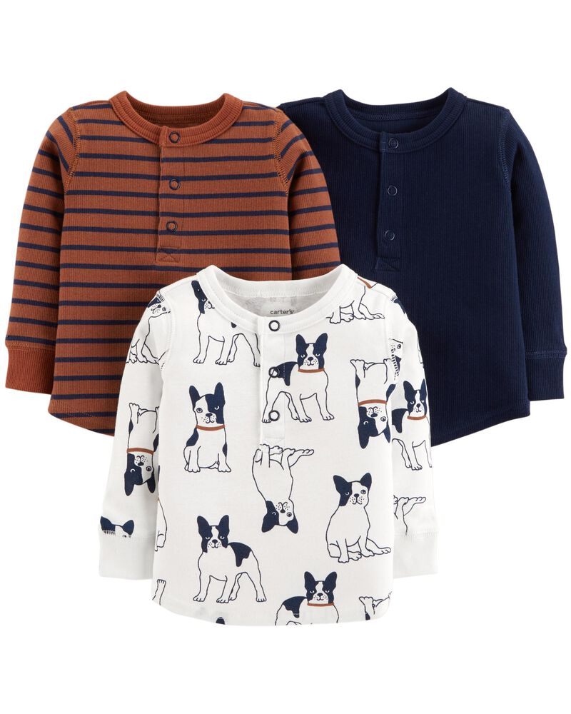 Baby Girl Carters 3 Pk Printed Long Sleeve T-Shirts Everyday Wear Separates New