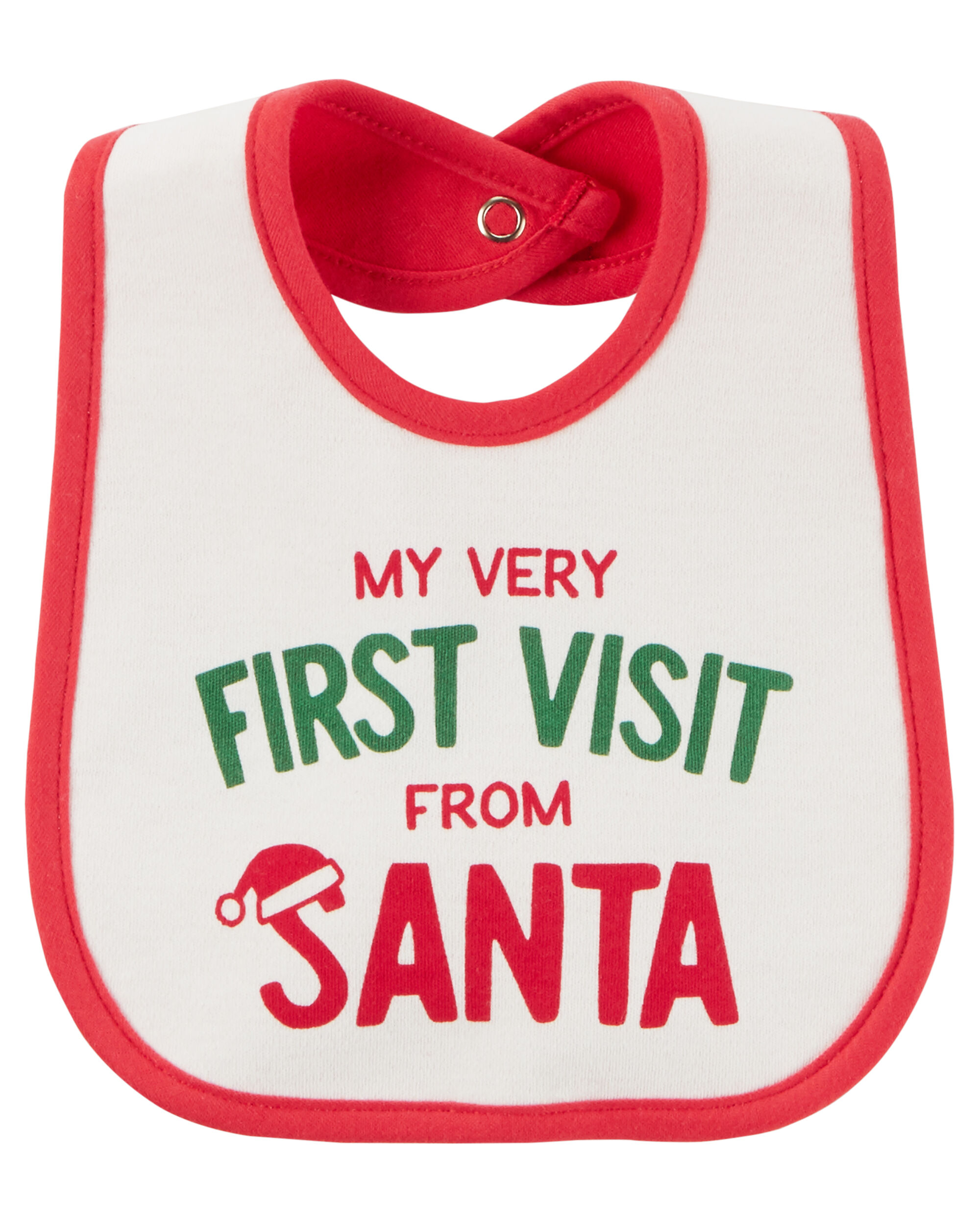 100/% Cotton NEW Just One You by Carters My First Christmas teething bib