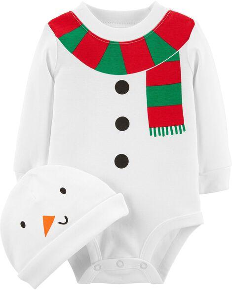 50cae0756ef 2-Piece Snowman Bodysuit   Hat Set