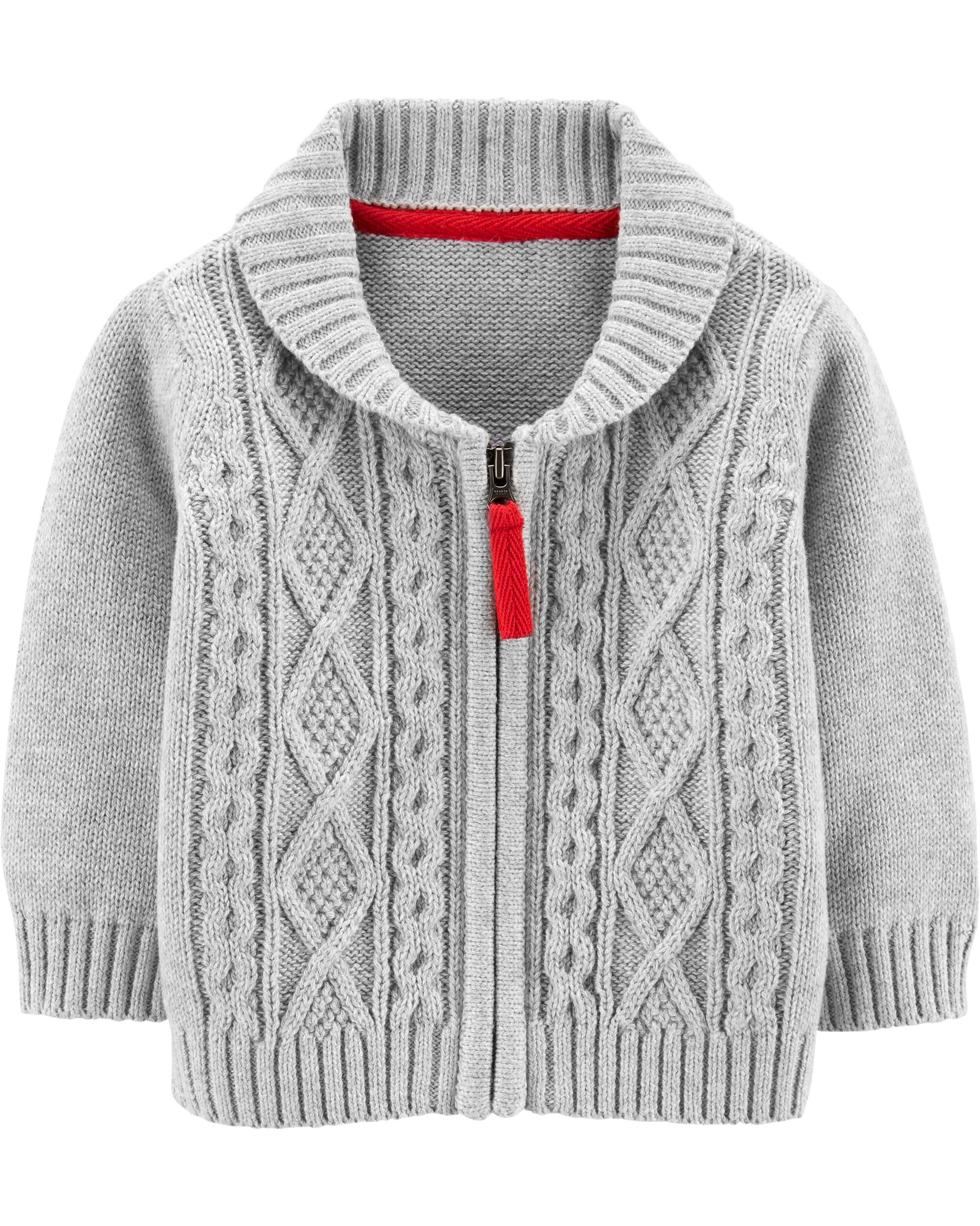 Zip Up Cable Knit Sweater  