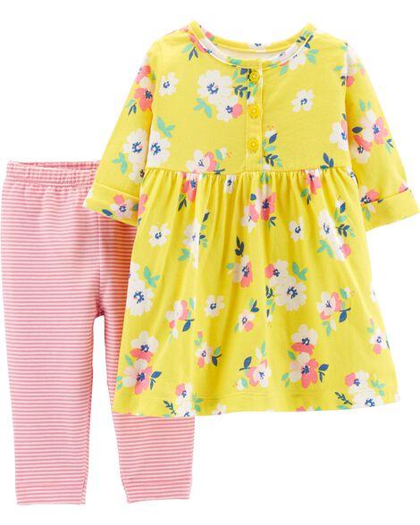 2-Piece Floral Dress & Striped Legging Set