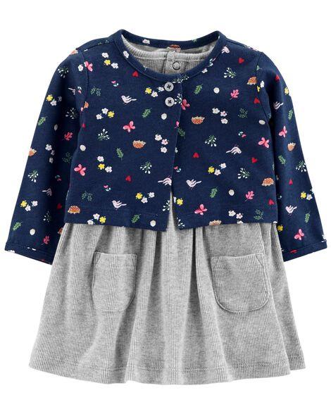 4255699e4e03 2-Piece Bodysuit Dress   Cardigan Set