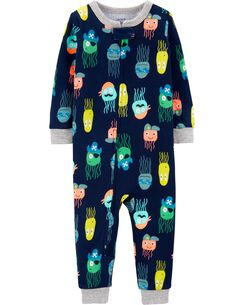 387051fbd 1-Piece Jellyfish Snug Fit Cotton Footless PJs