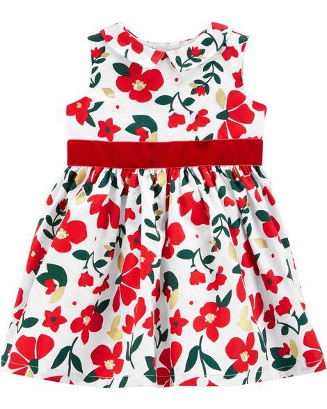 6ed790deade5d Floral Sateen Holiday Dress | Carters.com