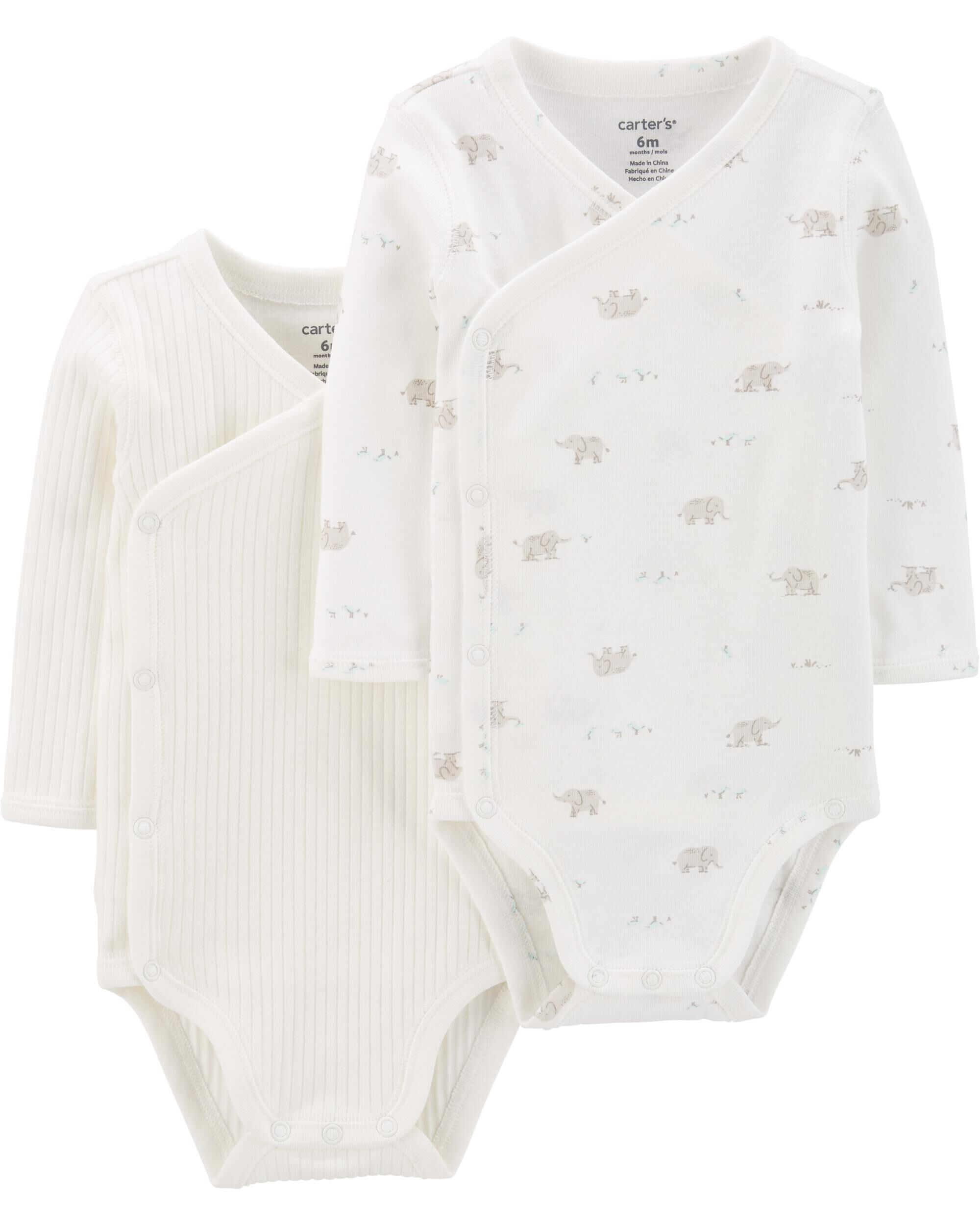 2-Pack Peanut Side-Snap Bodysuits