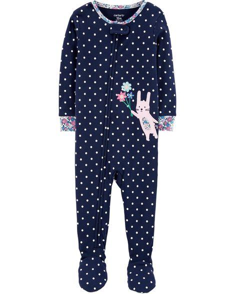 1-Piece Bunny Snug Fit Cotton Footie PJs