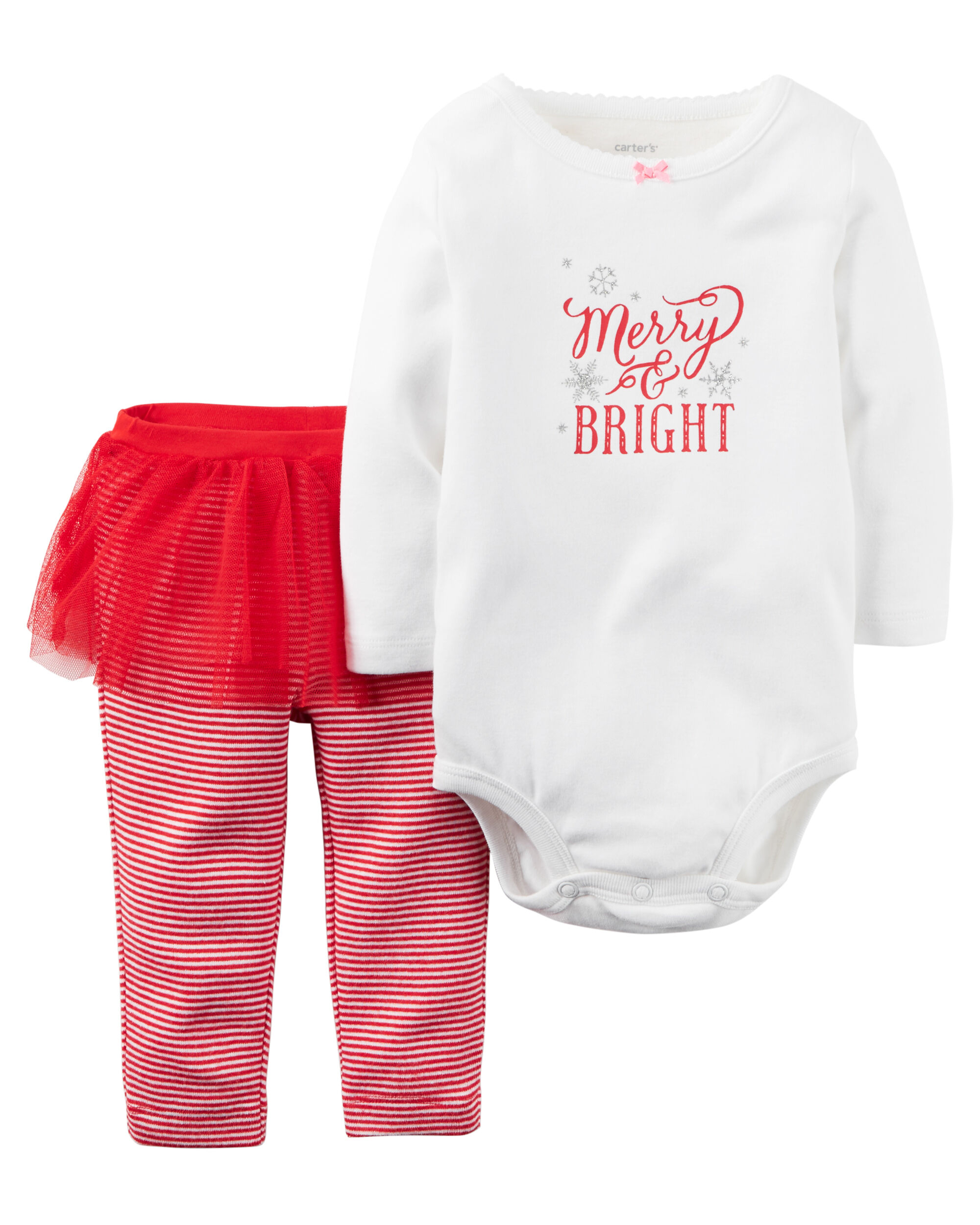 2 piece christmas bodysuit tutu pant set carters com