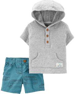 22c14a9ca27a4a 2-Piece Slub Jersey Pullover & Car Short Set