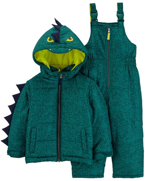 c72482d21f9b 2-Piece Dinosaur Snowsuit Set