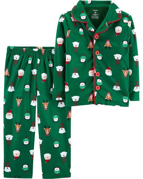 a2c5aea8f 2-Piece Kid Christmas Lightweight Fleece PJs