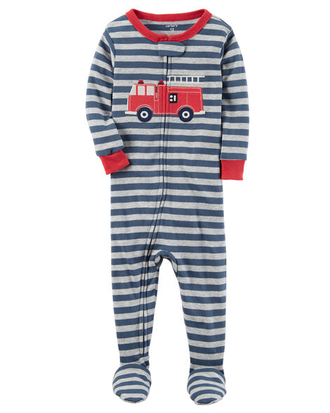f4f14f17f 1-Piece Firetruck Snug Fit Cotton PJs
