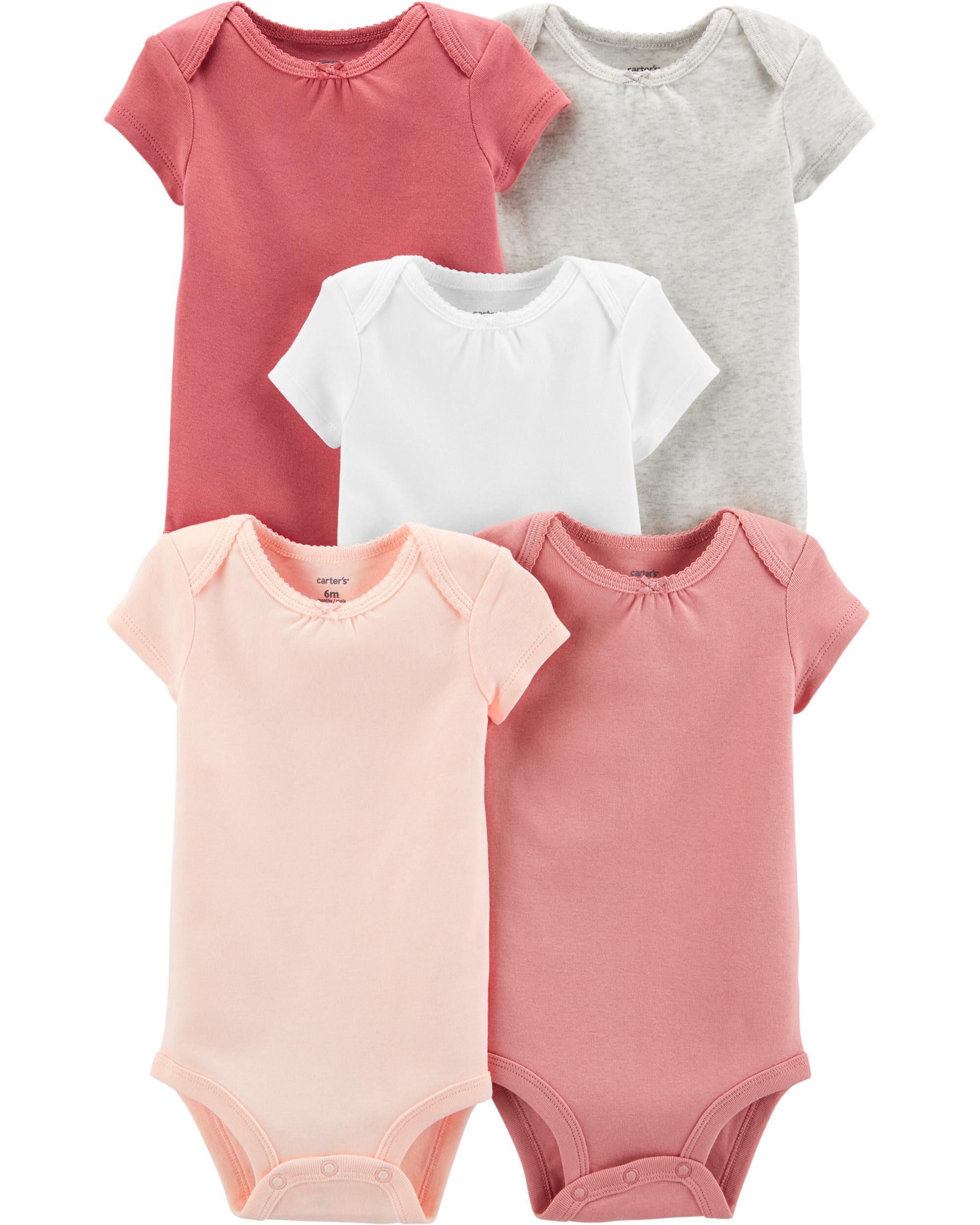 Carter/'s Baby Girl Carter/'s 6-pk Print Long Sleeve Bodysuits New Born 24 M