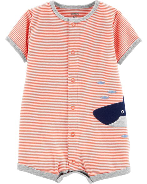 094f6b927accb Baby Boy Striped Shark Snap-Up Romper | Carters.com
