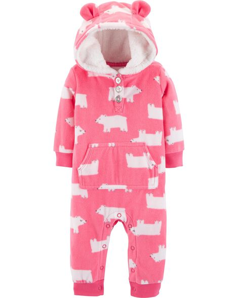1b7ac10e3 Polar Bear Hooded Fleece Jumpsuit | Carters.com