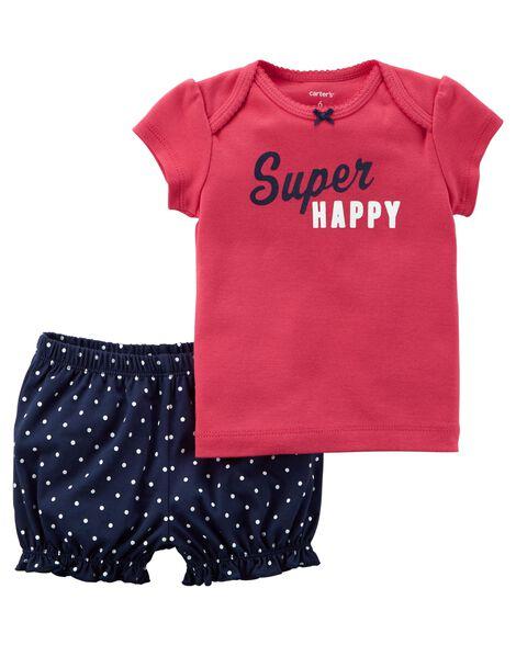 2-Piece Super Happy Top & Heart Short Set