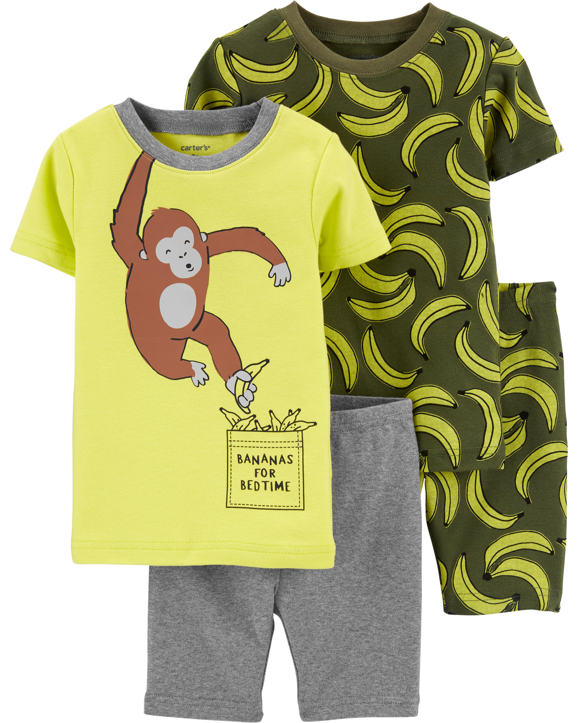 4-Piece Monkey Snug Fit Cotton PJs