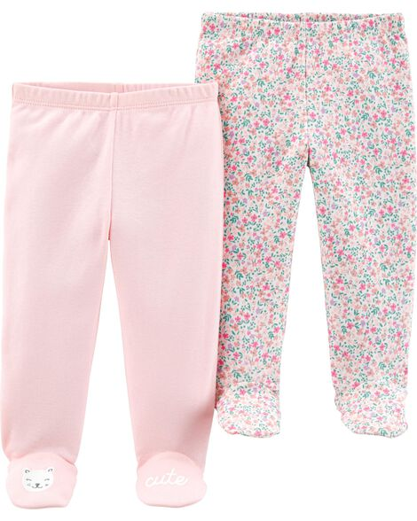 2 Pack Cotton Footed Pants Carters Com