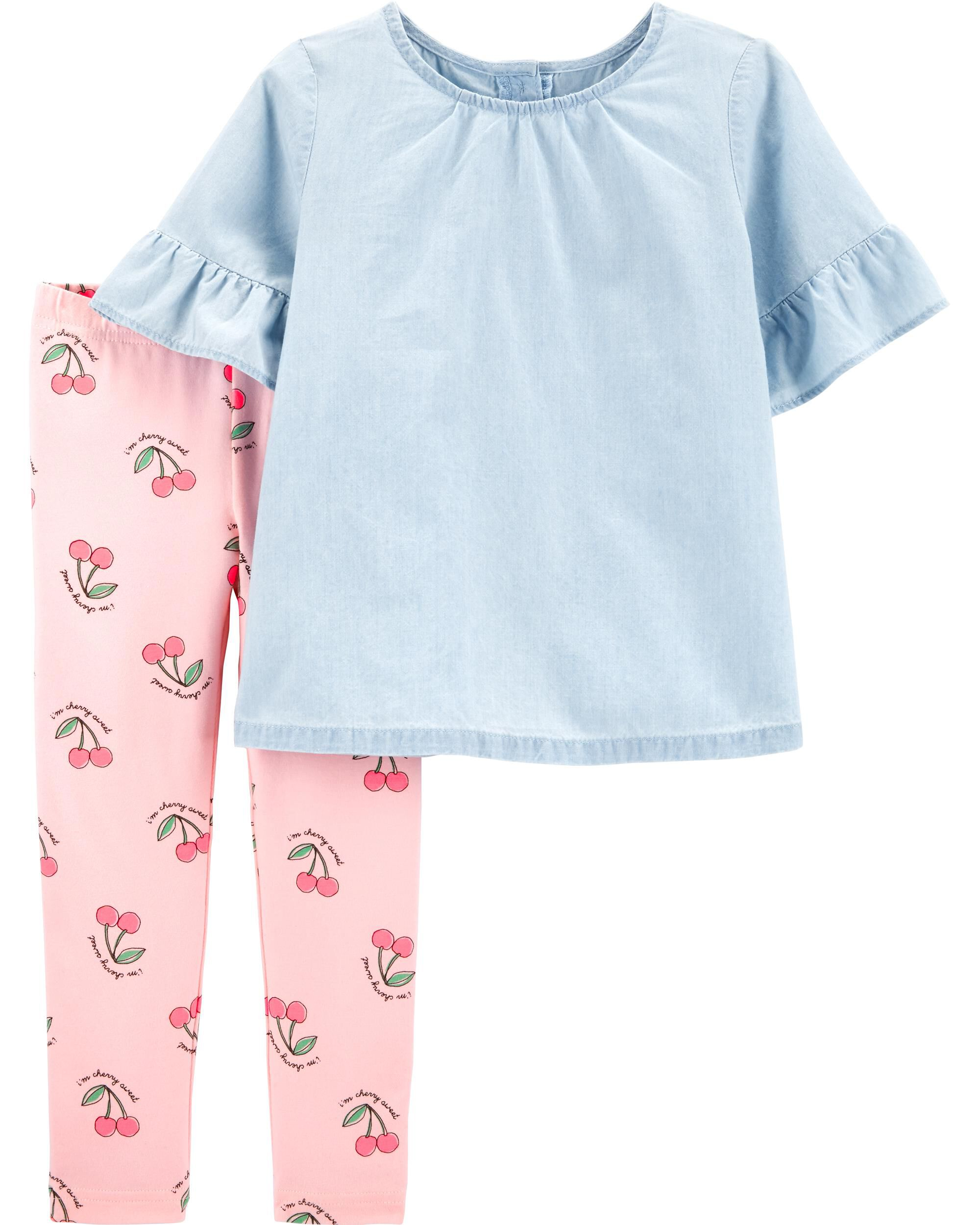 *CLEARANCE* 2-Piece Chambray Top & Floral Legging Set