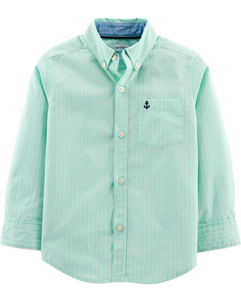 Striped Poplin Button-Front Shirt