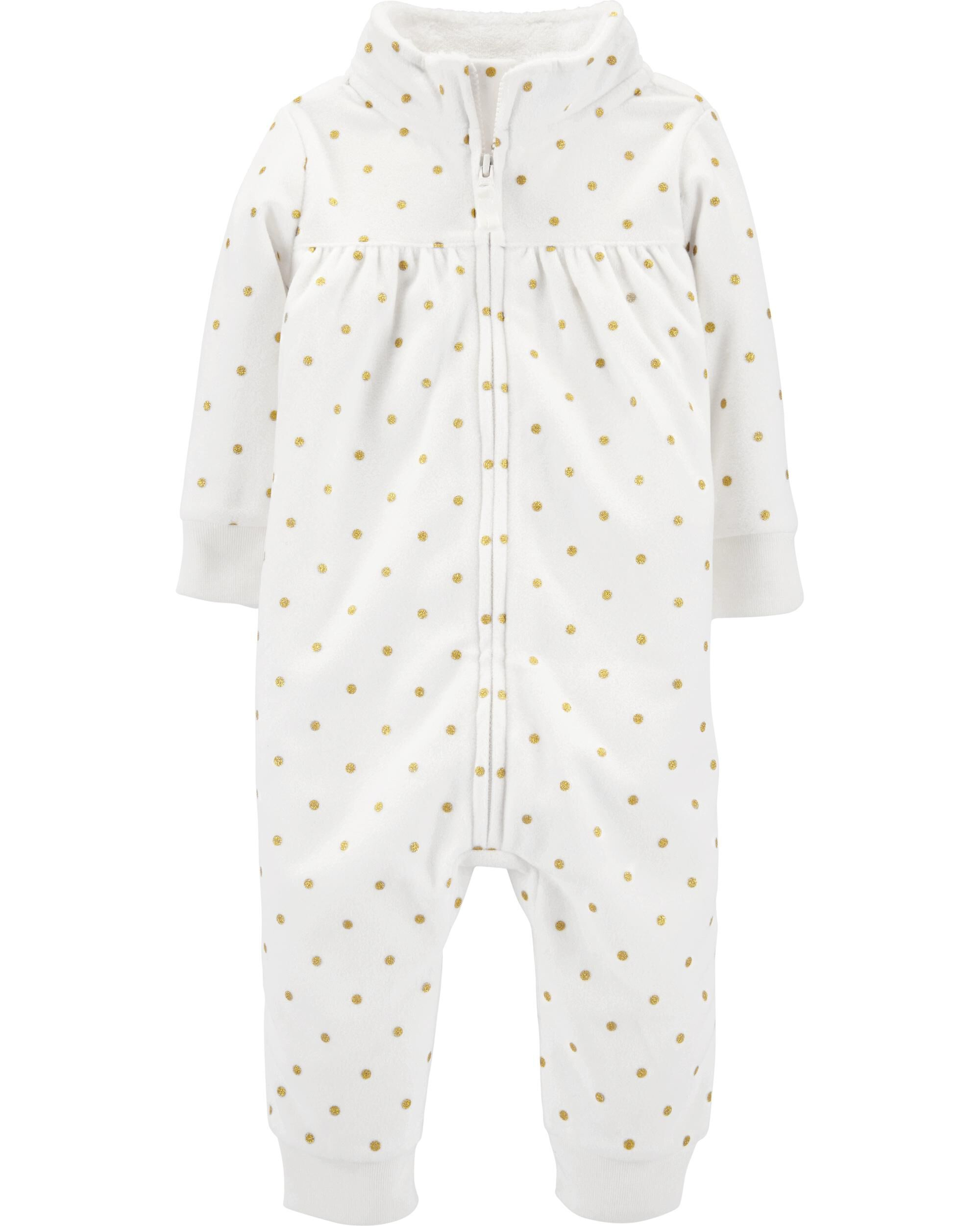 *CLEARANCE* Zip-Up Polka Dot Fleece Jumpsuit