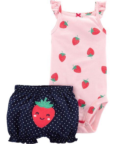 2-Piece Strawberry Bodysuit & Short Set