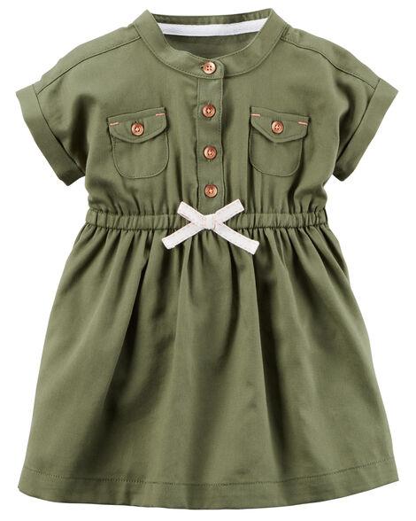 Double Pocket Twill Shirt Dress