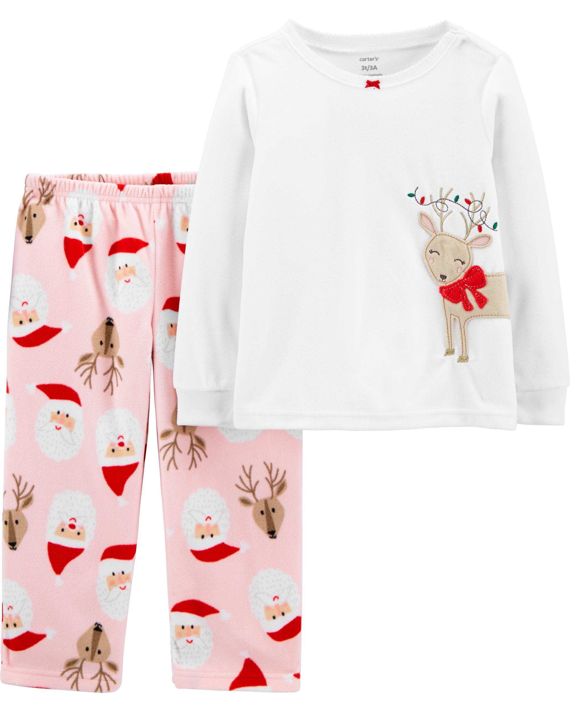*CLEARANCE* 2-Piece Reindeer Christmas Fleece PJs