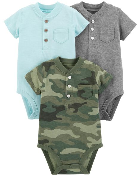 ea8aee4c7 3-Pack Henley-Style Original Bodysuits | Carters.com
