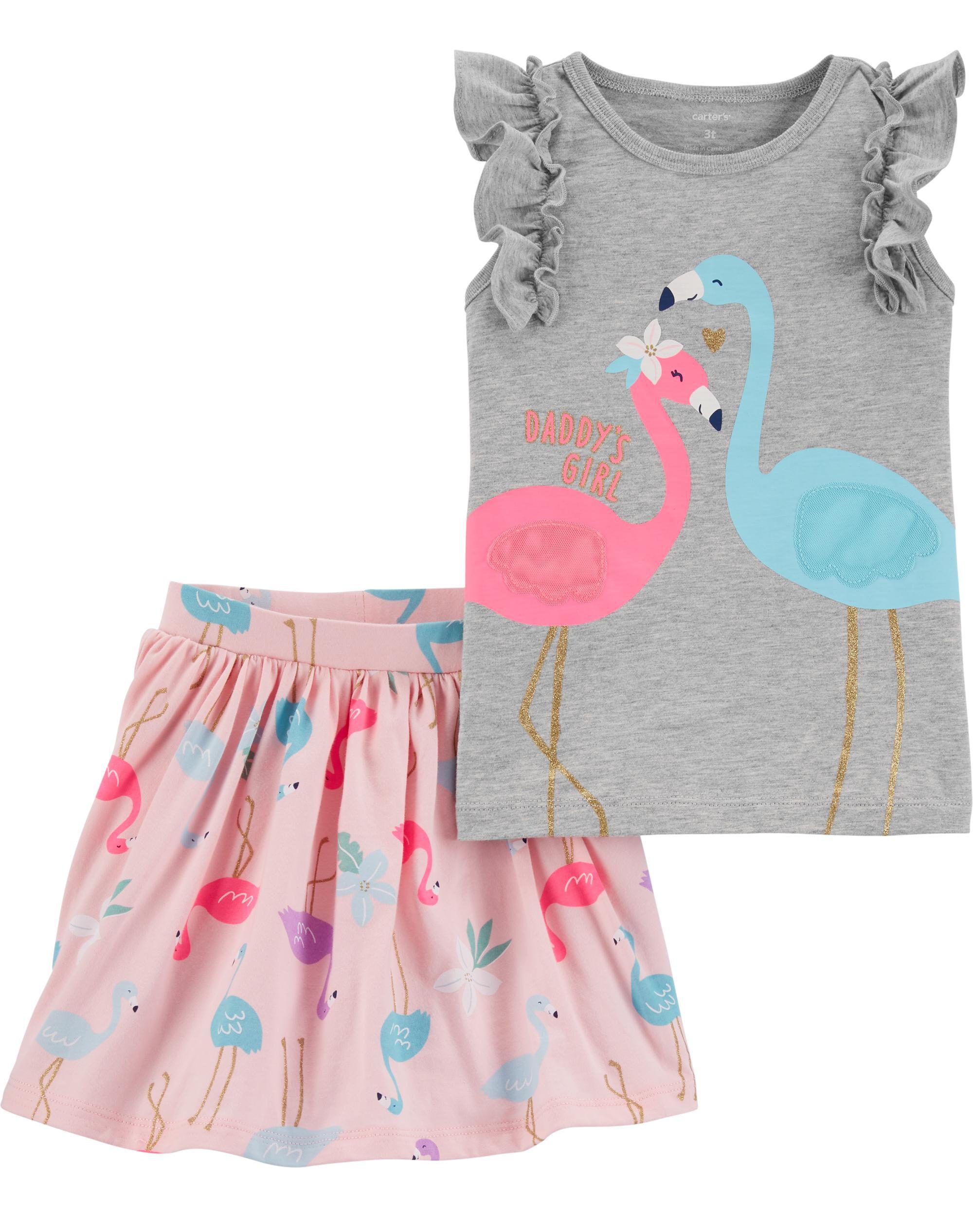*CLEARANCE* 2-Piece Flamingo Flutter Tee & Skort Set