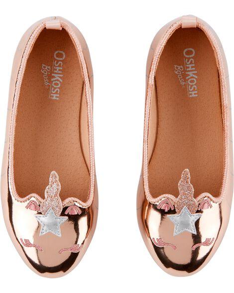 8bbfab87ccc Baby Girl OshKosh Rose Gold Unicorn Ballet Flats