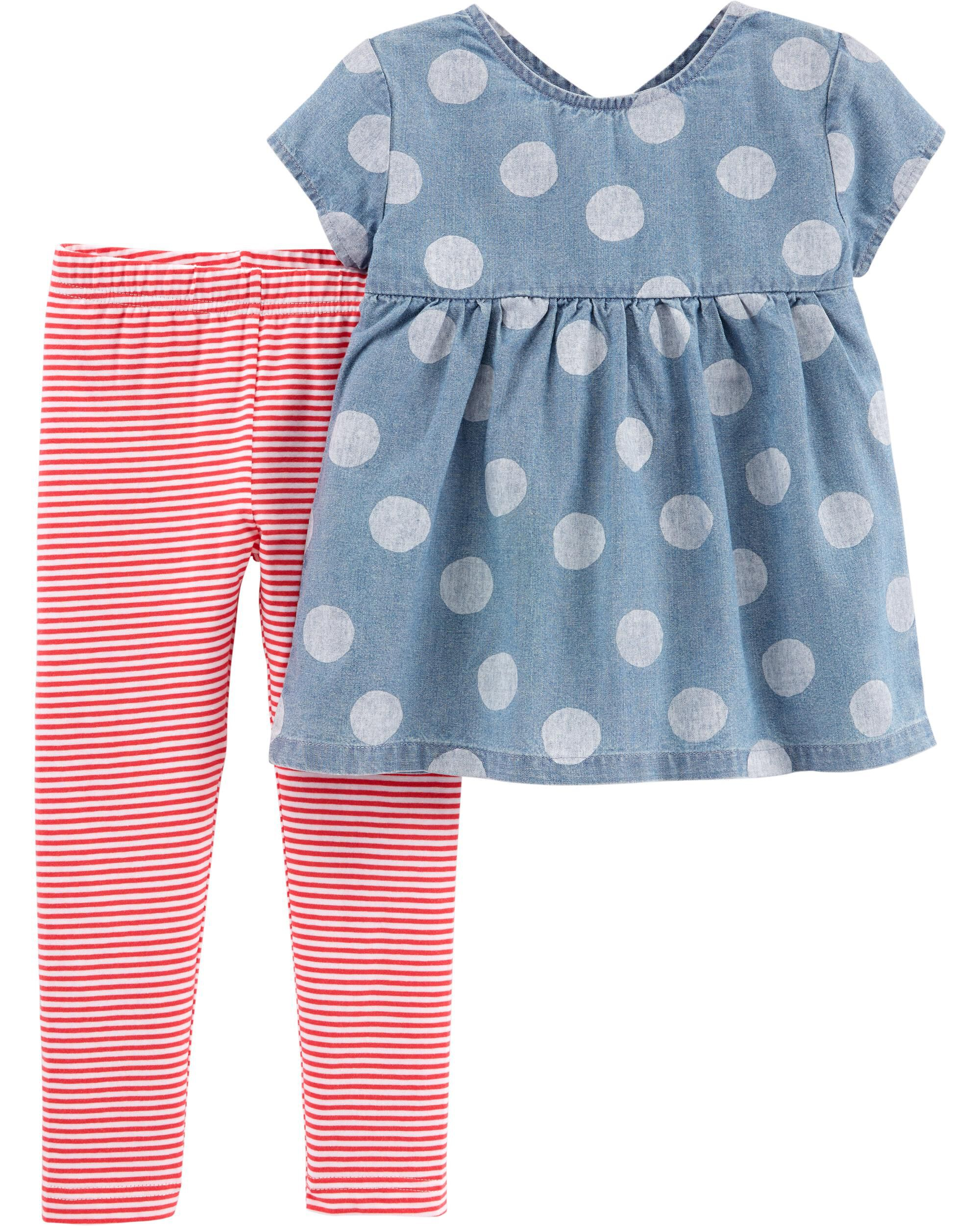 0ea92f420 2-Piece Polka Dot Chambray Top & Striped Legging Set. Loading zoom