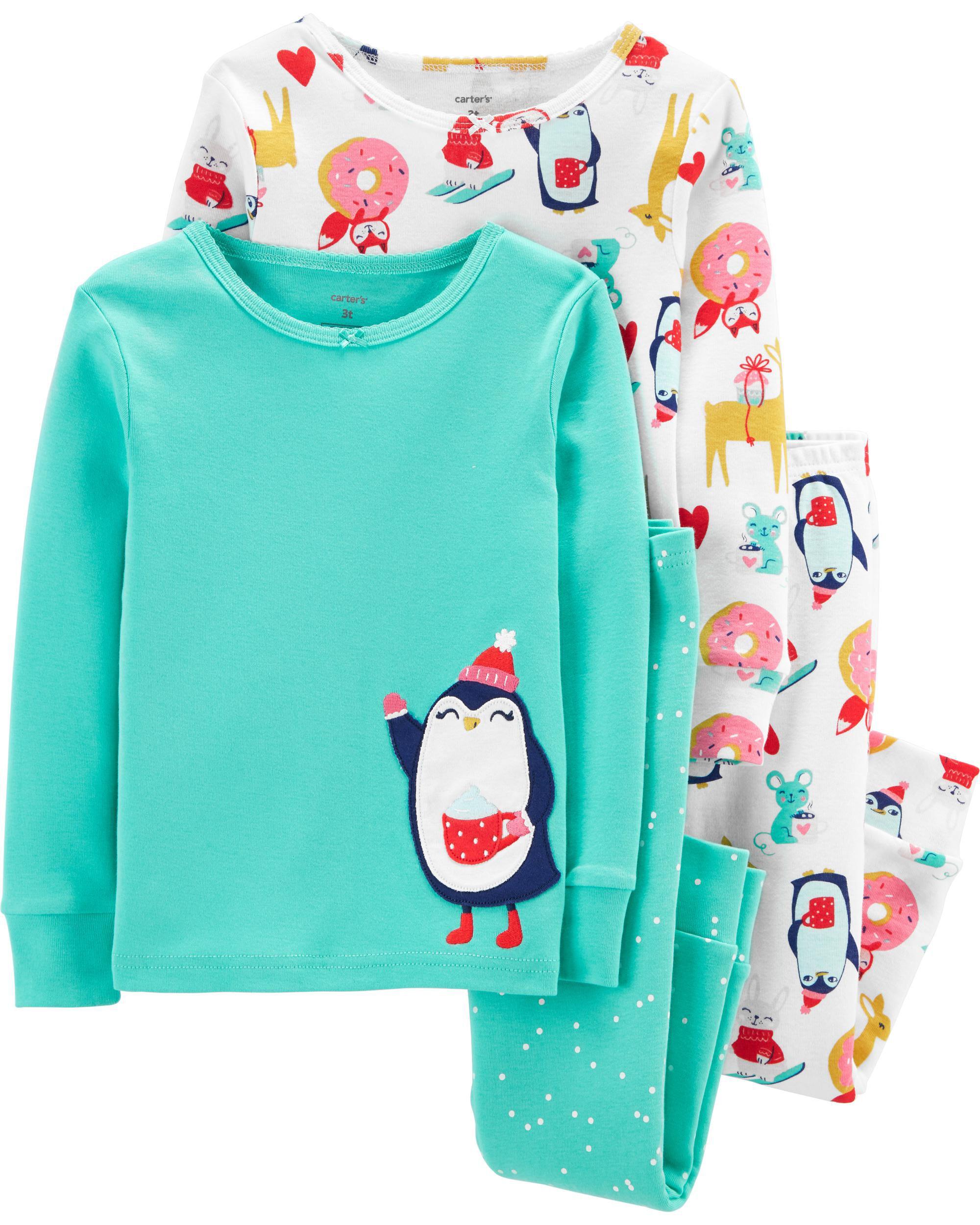 4-Piece Penguin Snug Fit Cotton PJs