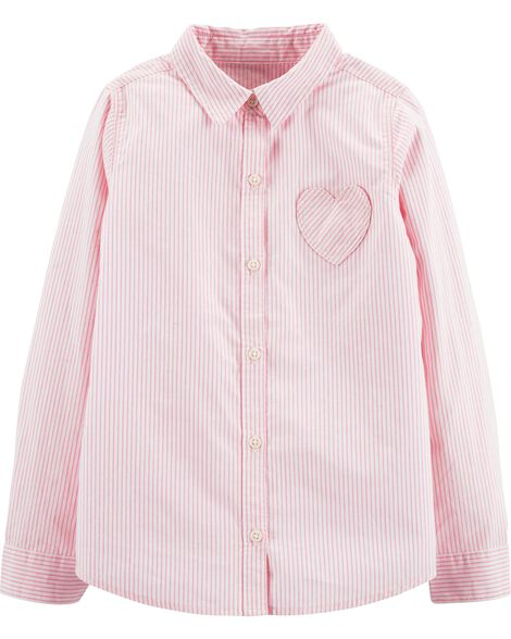 Striped Heart Button-Front Shirt