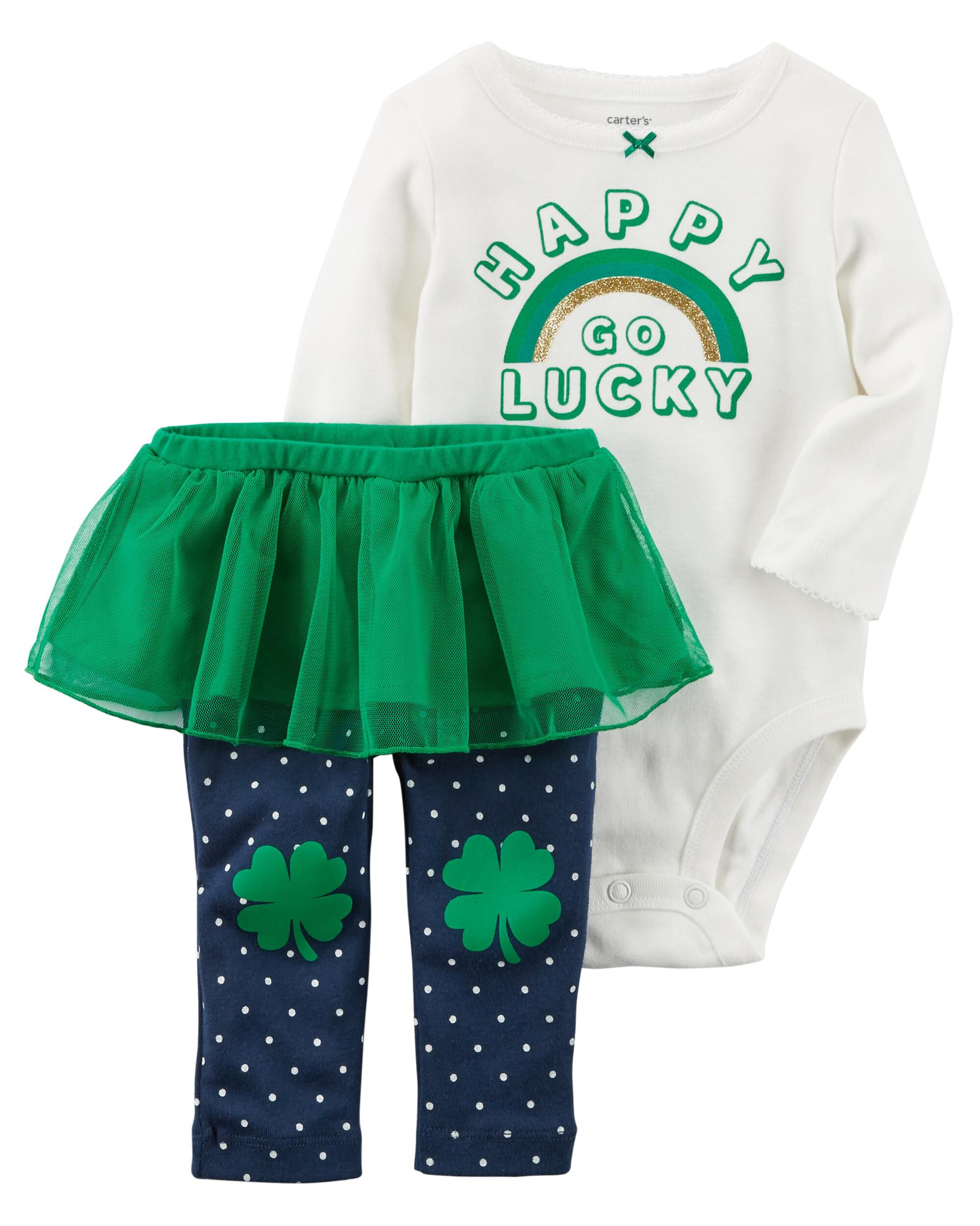 Carter/'s Girls Baby/'s First St Patrick/'s Day Bodysuit and Pants Set NEW W// TAG