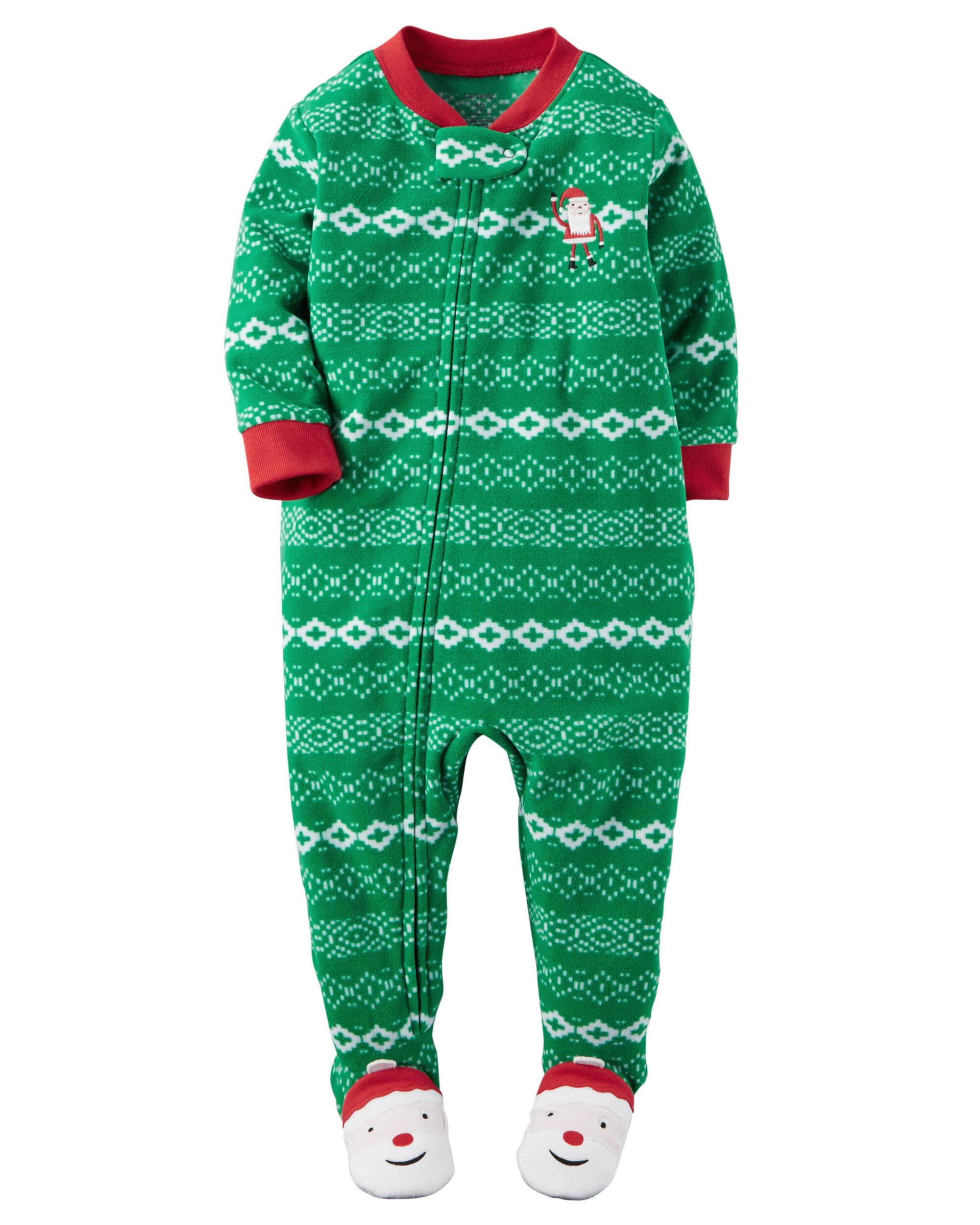 1-Piece Fleece Christmas PJs. Loading zoom