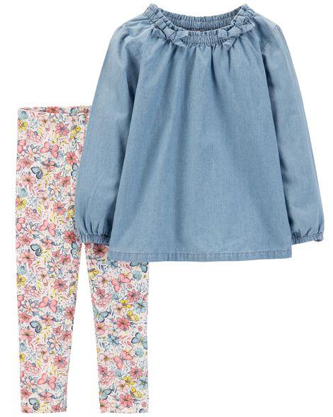 7b8c67eba638 Toddler Girl 2-Piece Chambray Top & Floral Legging Set | Carters.com