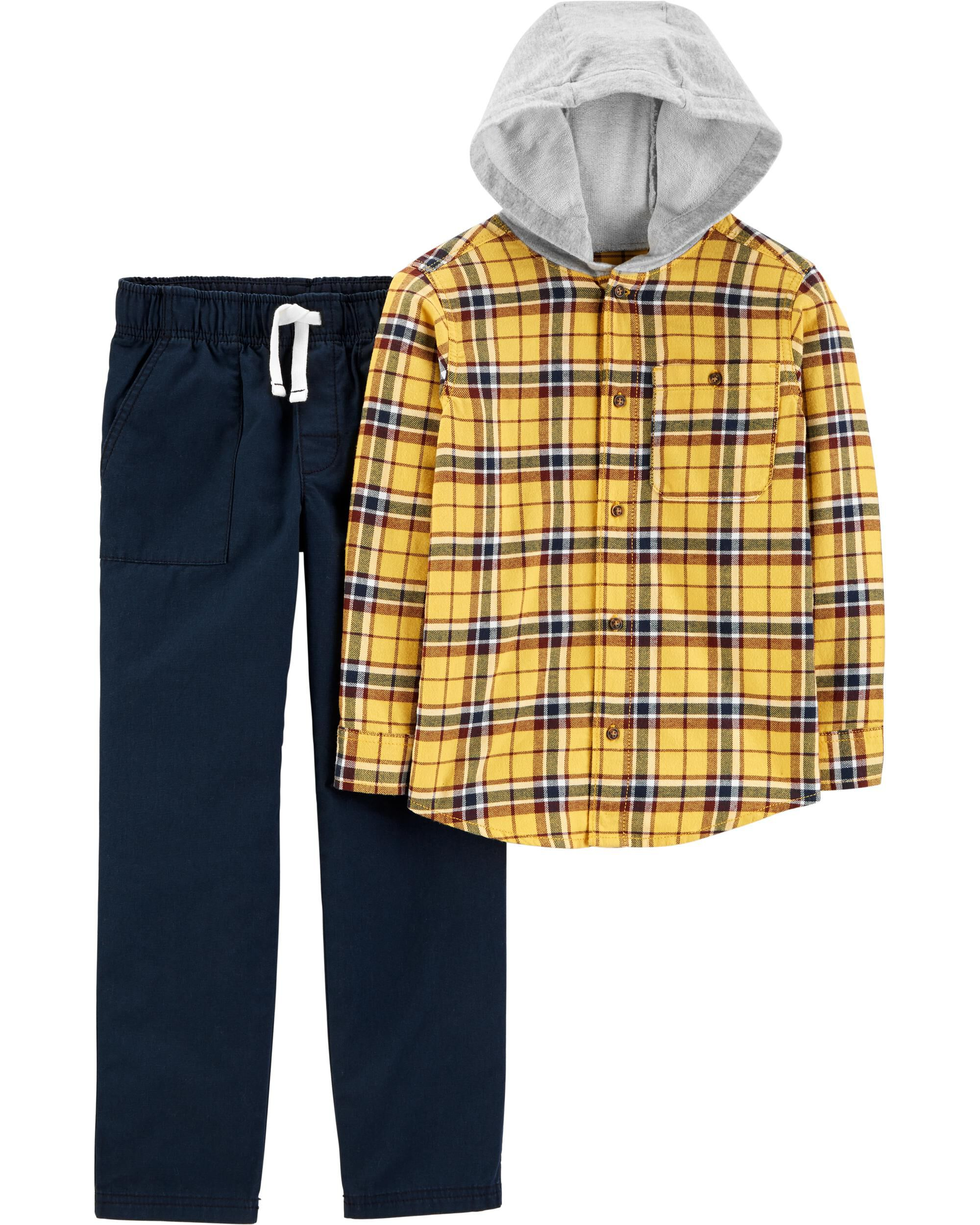 *CLEARANCE* 2-Piece Button-Front Flannel Hooded Top & Canvas Pant Set