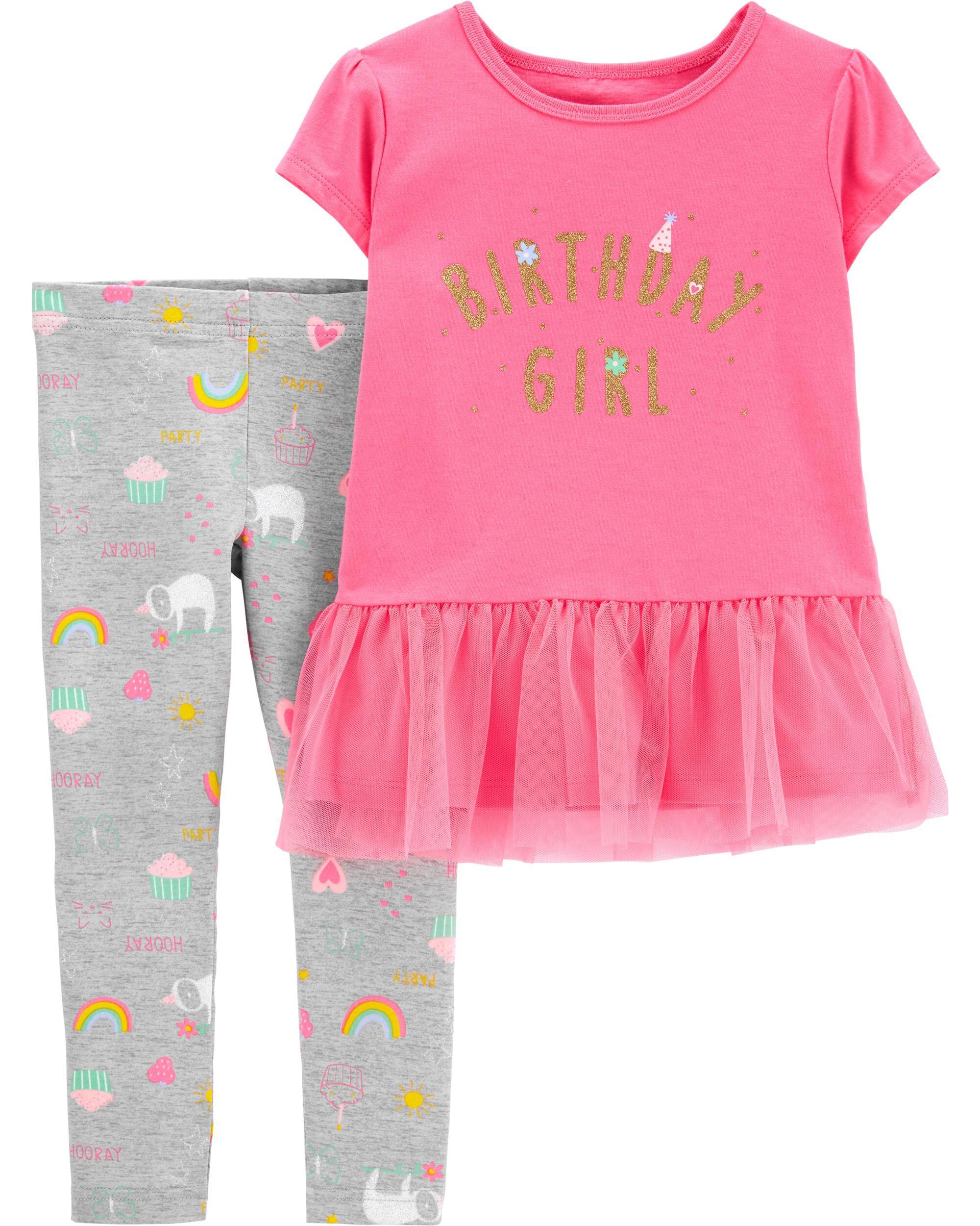 *CLEARANCE* 2-Piece Glitter Birthday Girl Tee & Legging Set