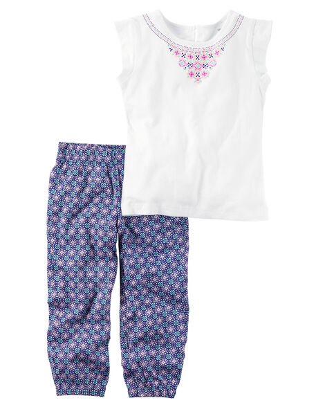 2-Piece Open-Back Top & Printed Jogger Set