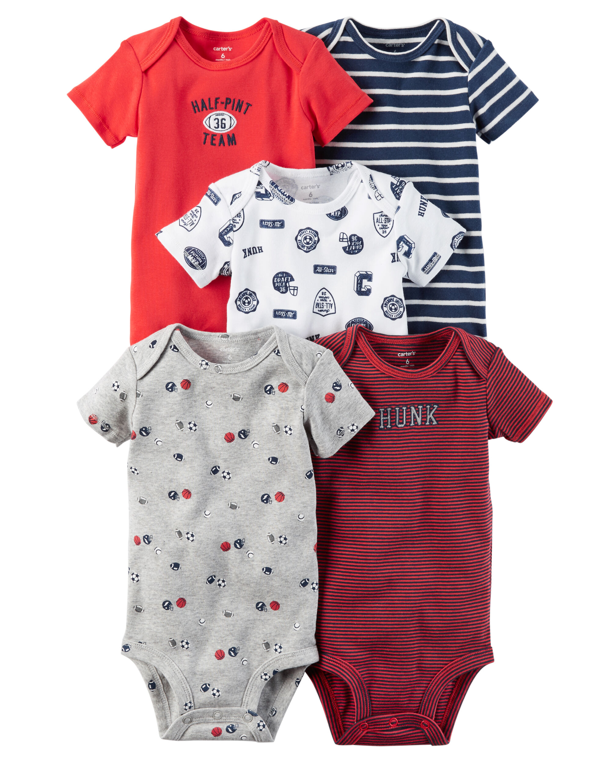 5 Pack Short Sleeve Original Bodysuits Carters Com