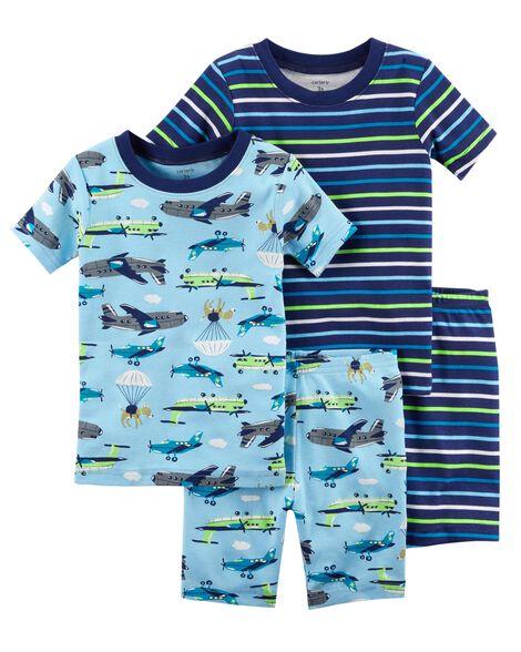 9ae3d983da2c 4-Piece Neon Planes Snug Fit Cotton PJs