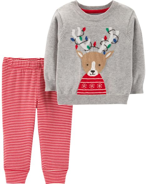 2-Piece Reindeer Sweater & Striped Pant Set