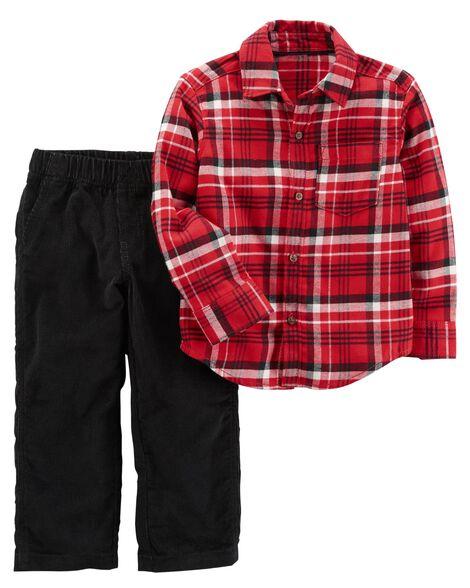 2-Piece Plaid Button-Front  & Corduroy Pant Set