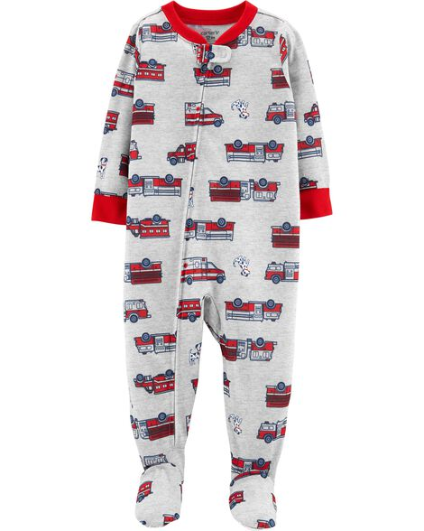 1-Piece Firetruck Footed Poly PJs