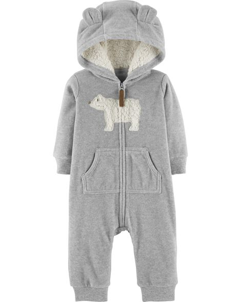 db70b9518e49 Zip-Up Polar Bear Hooded Jumpsuit